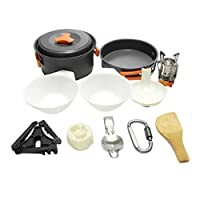 食器新しい1-2人キャンプ調理器具セットキャンプストーブヘッドカトラリー組み合わせポータブル屋外セットポットSNOWVIRTUOS