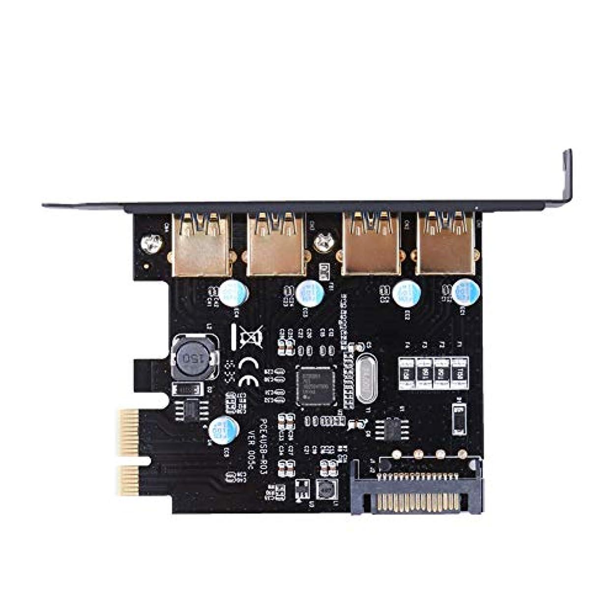 操作可能ごめんなさい役立つ新しい4ポートusb 3.0 pci-eカードpci express拡張カードアダプター5 gbpsでピン電源コネクタ用デスクトップ
