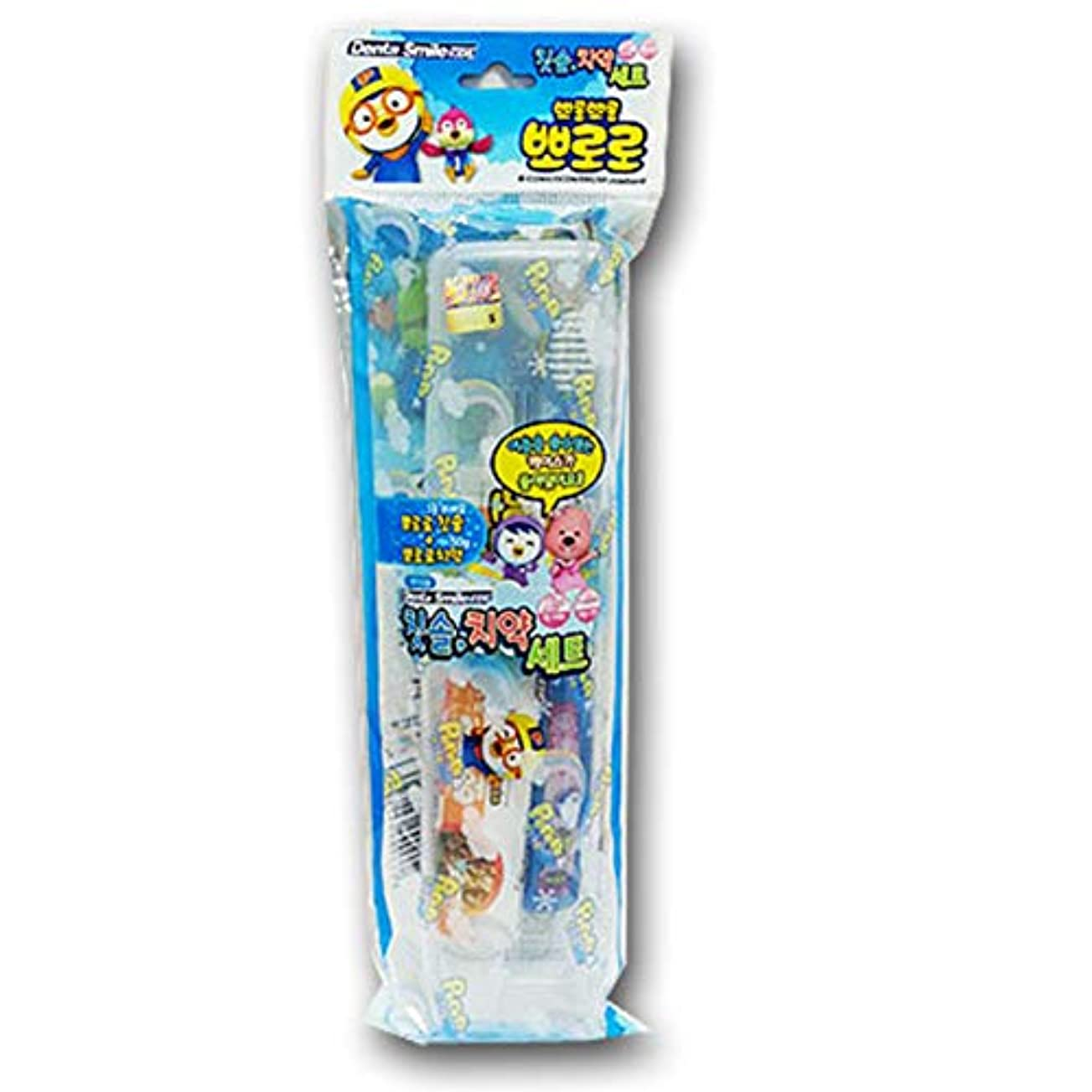 追跡簡潔な湿気の多いPororo&Friendsポータブル歯磨き粉歯ブラシセットパイナップル香50g.