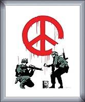 ポスター バンクシー Peace Soldiers 額装品 カラビアフレーム(シルバー)