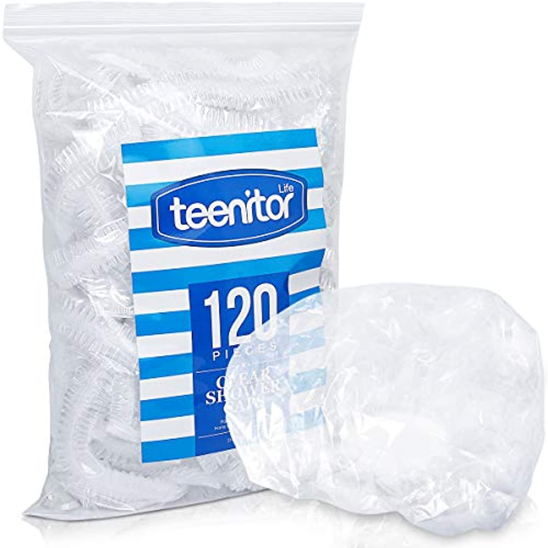 慢ゲート名目上のTeenitor 使い捨てキャップ シャワーキャップ ヘアキャップ120枚 高品質 髪染め用 ヘアカラー用 サロン用 業務用 フリーサイズ 男女兼用