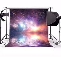 GooEoo 6×6FTビニール写真の背景美しい宇宙ブルーギャラクシーファンタジースカイスター水写真の背景子供赤ちゃん大人肖像画背景