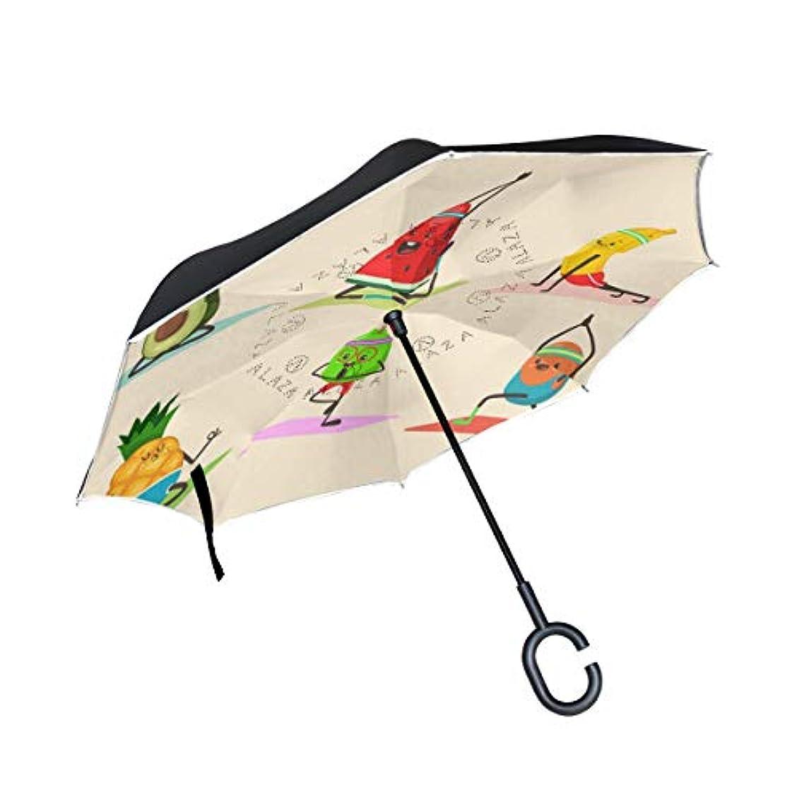 異なる頬骨コンパスChovy 逆転傘 長傘 逆さ傘 逆折り式傘 メンズ 車用傘 自立傘 手離れC型手元 パイナップル 西瓜 果物 だもの フルーツ かわいい 可愛い おもしろ 日傘 折りたたみ UVカット 晴雨兼用 男女兼用 レディース 二重傘 撥水加工 耐風 丈夫 大きい 梅雨対策 雨傘 遮光断熱