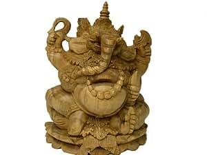 アジアン雑貨 願いを叶える・除災厄除・財運の神様ガネーシャ B木彫り★アジアン バリ島