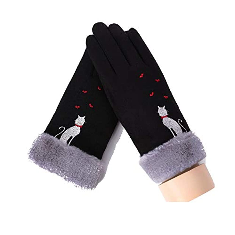 ダイバーインデックス豊かにするAdisaer グローブ レディース ストライプ シンプル風 猫ネコ ハート 小物 クリスマス プレゼント