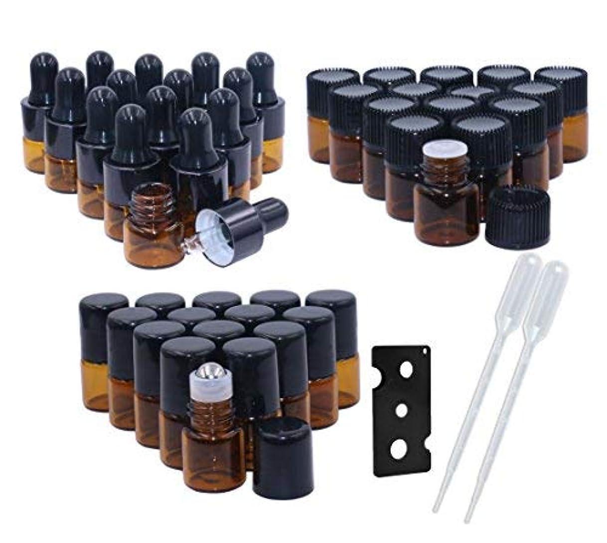 看板忙しい十年Amber Glass Essential Oil Bottles,1ml(1/4 Dram) 15 Pack,Kit Included:Stainless Steel Roller Ball Bottles,Eye Dropper...