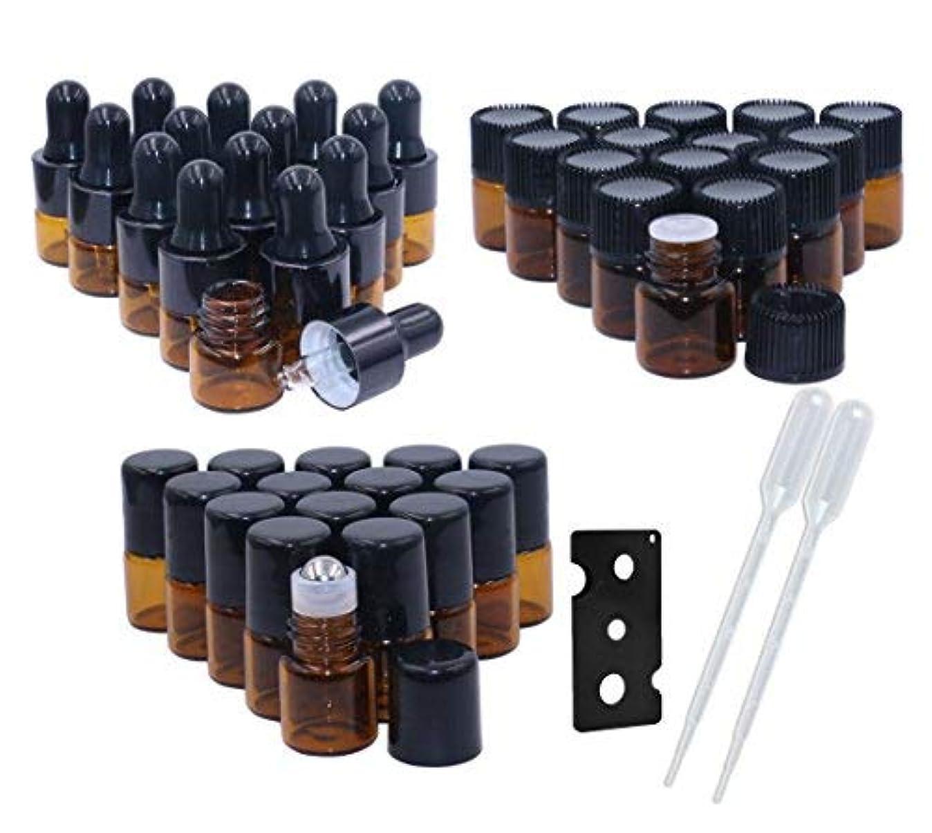 インサート蓋幻滅するAmber Glass Essential Oil Bottles,1ml(1/4 Dram) 15 Pack,Kit Included:Stainless Steel Roller Ball Bottles,Eye Dropper...