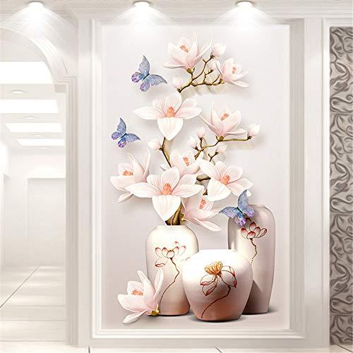 5D ダイヤモンド絵画 マグノリア 蝶 全面貼り付け 壁飾り DIY 手作り プレゼント 贈り物 (60 x 90cm)