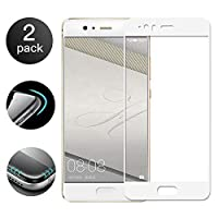 [2枚組] Huawei P10 Lite用強化ガラス、2.5 DフルカバレッジハイクリアプレミアムHDスクリーンプロテクター9H硬度ホワイト