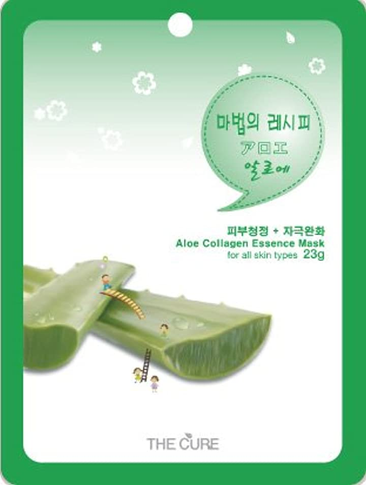 ボリューム古いペナルティアロエ コラーゲン エッセンス マスク THE CURE シート パック 10枚セット 韓国 コスメ 乾燥肌 オイリー肌 混合肌