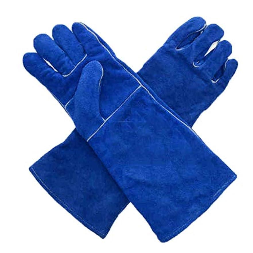ファンネルウェブスパイダー容器強大な長い革の溶接手袋は非常に熱および摩耗抵抗力があります - 溶接機/暖炉/ストーブ/バーベキュー/園芸、青い色のために適した (サイズ さいず : L l)