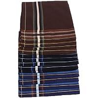 HOMYL 6Pairs Mens Pocket Hanky Cotton Handkerchief Square Handkerchiefs 43 x 43cm