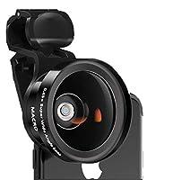 新しい携帯電話用カメラレンズキット、4K HD携帯電話用カメラレンズ、広角+マクロ2-in-1携帯電話用レンズ (Color : ブラック)