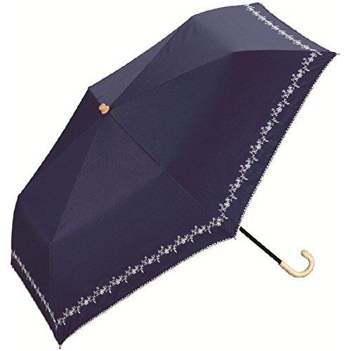wpc 【遮光率99%以上・遮熱効果】晴雨兼用折りたたみ傘(プチフラワー刺繍)【ネイビー/**】