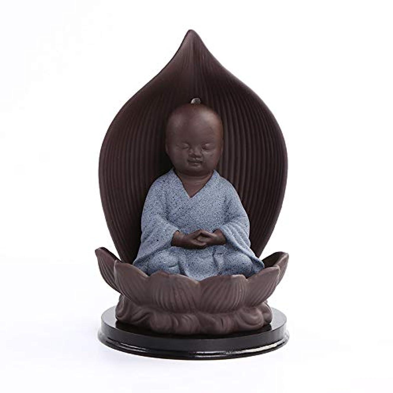 雇った発行溢れんばかりのセラミック香炉バッキングブラケット磁器仏教僧mon仏炉香スティックフレーム工芸ギフトバーナー9 * 15センチ