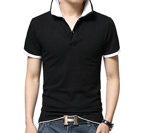 (エフバイフォー) F×4 メンズ 半袖 長袖 レイヤード 風 シンプル ゴルフ ポロ シャツ 6 カラー FMT020 半袖 黒 × 白 M