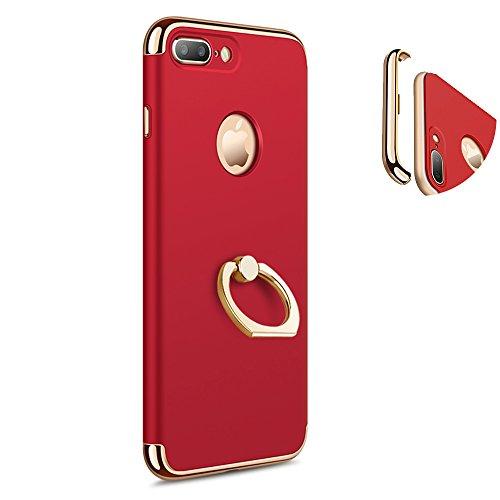 KYOKA iphone7ケース リング付き 衝撃防止 スタンド機能 3パーツ式 アイフォン7ケース おしゃれ 軽量 薄い 携帯カバー (iPhone7, レッド)