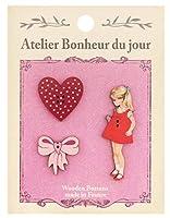 フランス製 木製ボタンセット (女の子とハートとリボンのセット) アトリエ・ボヌール・ドゥ・ジュール ATLIERSET005
