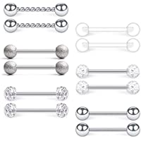 14G Stainless Steel & Clear Acrylic Nipple Ring Tongue Barbell Rings Bars Retainer Body Piercing Jewelry for Women Men 12PCS