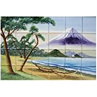 絵タイル 三保の松原 陶器質タイル 4×6 【アウトレットタイル】