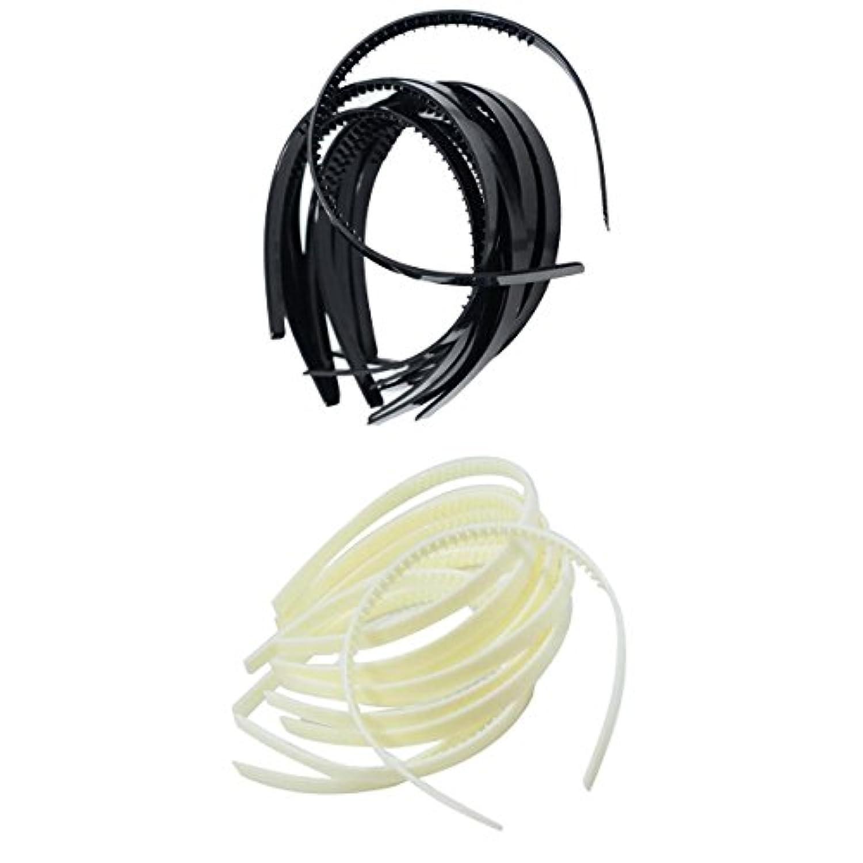 Dovewill 白/黒セット DIY 髪飾り アリス ヘッドバンド 洗練 スリム プラスチック製 約20個入り