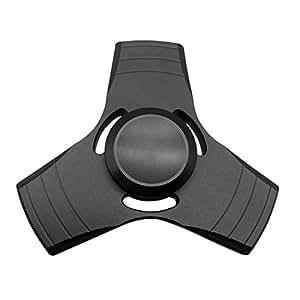 GuFan 指スピナー フォーカス玩具 三角ハンドスピナー アルミ 耐久性 ストレス 解消 ADHD 子供大人に適用 (ブラック)