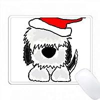サンタの帽子のクリスマスアートのおかしい古い英語の羊飼い PC Mouse Pad パソコン マウスパッド