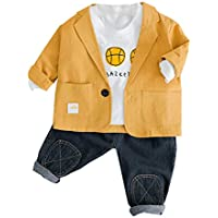 Mornyray Kids Boys 3Pcs Outfits Suit Set Long Sleeve T-Shirt+Suit Tops+Jeans