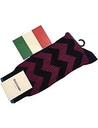 (ドゥシャン)Duchamp英国稀少ドゥシャン製 イタリー製 メンズソックス 綿 ハーフホーズStep Stripe/Darkpink Navy SizeM K299