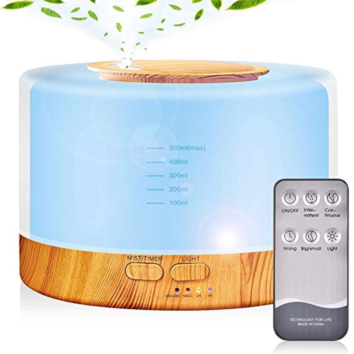 アダルトランチフローアロマディフューザー 加湿器, 卓上 大容量 超音波加湿器, 500ML 保湿 時間設定 空焚き防止 7色変換LED搭載 (木目調)