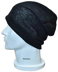 [TARO WORKS] 無地 ロールアップワッチ ニット帽 ビーニー オールシーズン Unisex (ブラック)