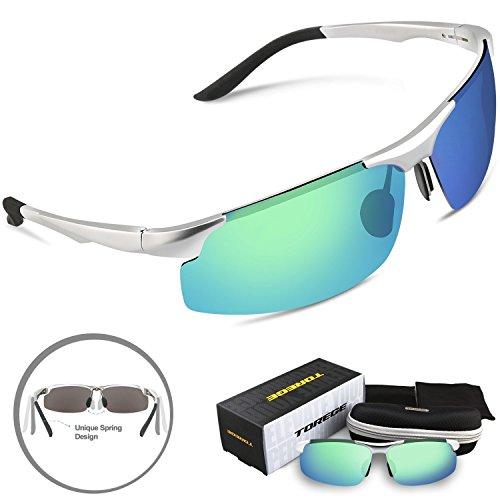 Torege 偏光レンズ スポーツサングラス 超軽量 アルミニウム・マグネシウム合金 UV400 紫外線カット スポーツサングラス/ 自転車/釣り/野球/テニス/スキー/ランニング/ゴルフ/ドライブ M291 (シルバー&グリーンレンズ)