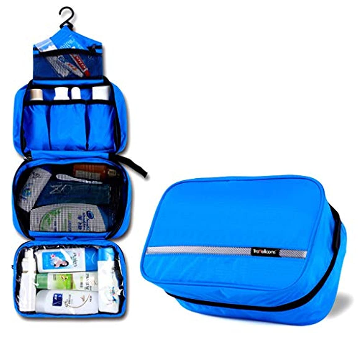サンダー眠り加入トラベルウォッシュバッグ、メンズビジネストラベルセット、レディース化粧品袋携帯用防水収納袋(カラー:ブルー)