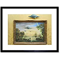 Banksy Ufo Graffiti Street Art Framed Wall Art Print バンクシー落書き通り壁