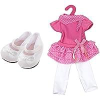 Lovoski 18 インチ かわいい アメリカンガール人形用 ピンクドレス&白いレギンス シューズ 女の子 プレゼント