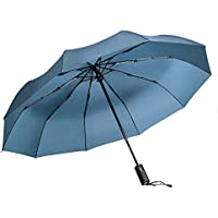 Windproof Umbrella, Vanwalk Black Portable Compact Travel Folding Strong Umbrella 10-Rib Sturdy with 210t Fabric Teflon, Auto Open and Close