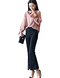 [もうほうきょう] レディース シフォンブラウス 上下セット カジュアル パンツスーツ 二点セット 無地 長袖 ゆったり 春秋夏 女性 フレアパンツ OL  オフィス ビジネス 通勤