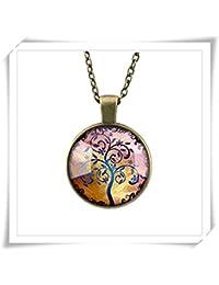 ガラスタイルネックレスツリーネックレス命の木ガラスタイルジュエリーツリージュエリーシルバーブラックまたは真鍮ガラスタイルのペンダントのネックレス
