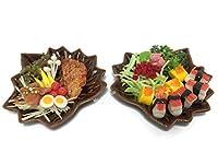 2 Miniature Sushi Set Food Dollhouse Drink Japan Food Shshi Bento Steak Vegetable Fruit Decor Furniture ( Sushi,Pork