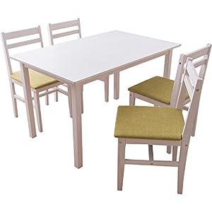 ダイニングテーブルセット5点セット ニコル NCL120TBL5SWH ホワイト×グリーン 7126726
