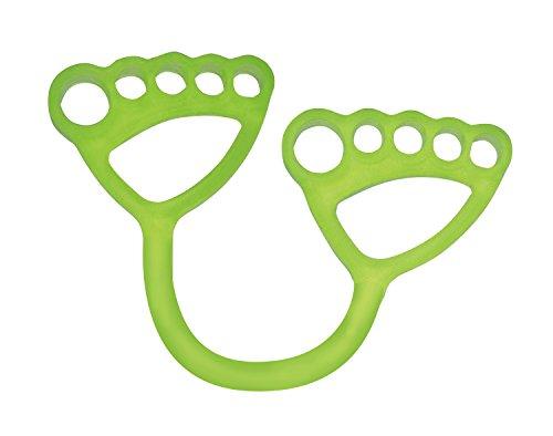 東急スポーツオアシス フィットネスクラブがつくった ストレッチバンド (肩甲骨 股関節 ふくらはぎ 二の腕) エクササイズ 指穴付き ストレッチサポートグッズ 足指トレーニング 足裏アーチ (ハード(グリーン))