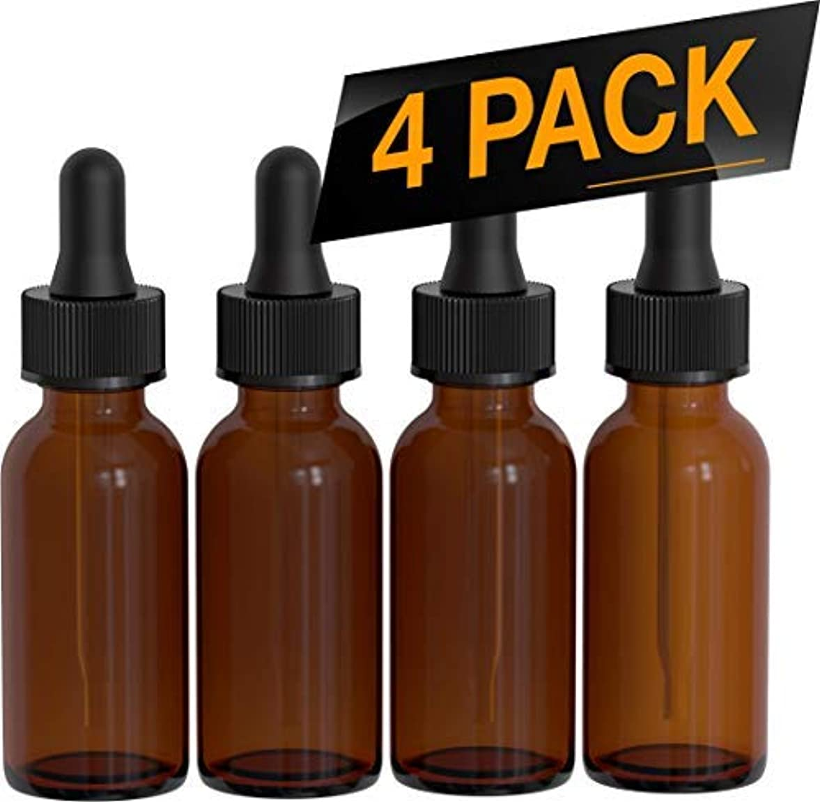 対角線下向き温かい4 Pack Essential Oil Roller Bottles - Round Boston Empty Refillable Amber Bottle with Glass Dropper for Liquid...