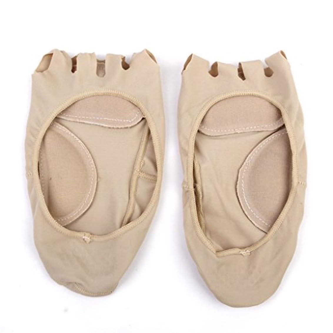 ムス診療所電子レンジ【Footful】ソックス 靴下 5つ本指つま先 ボートソックス マッサージパッド 見えない 滑り止め アンクルソックス (ヌード)
