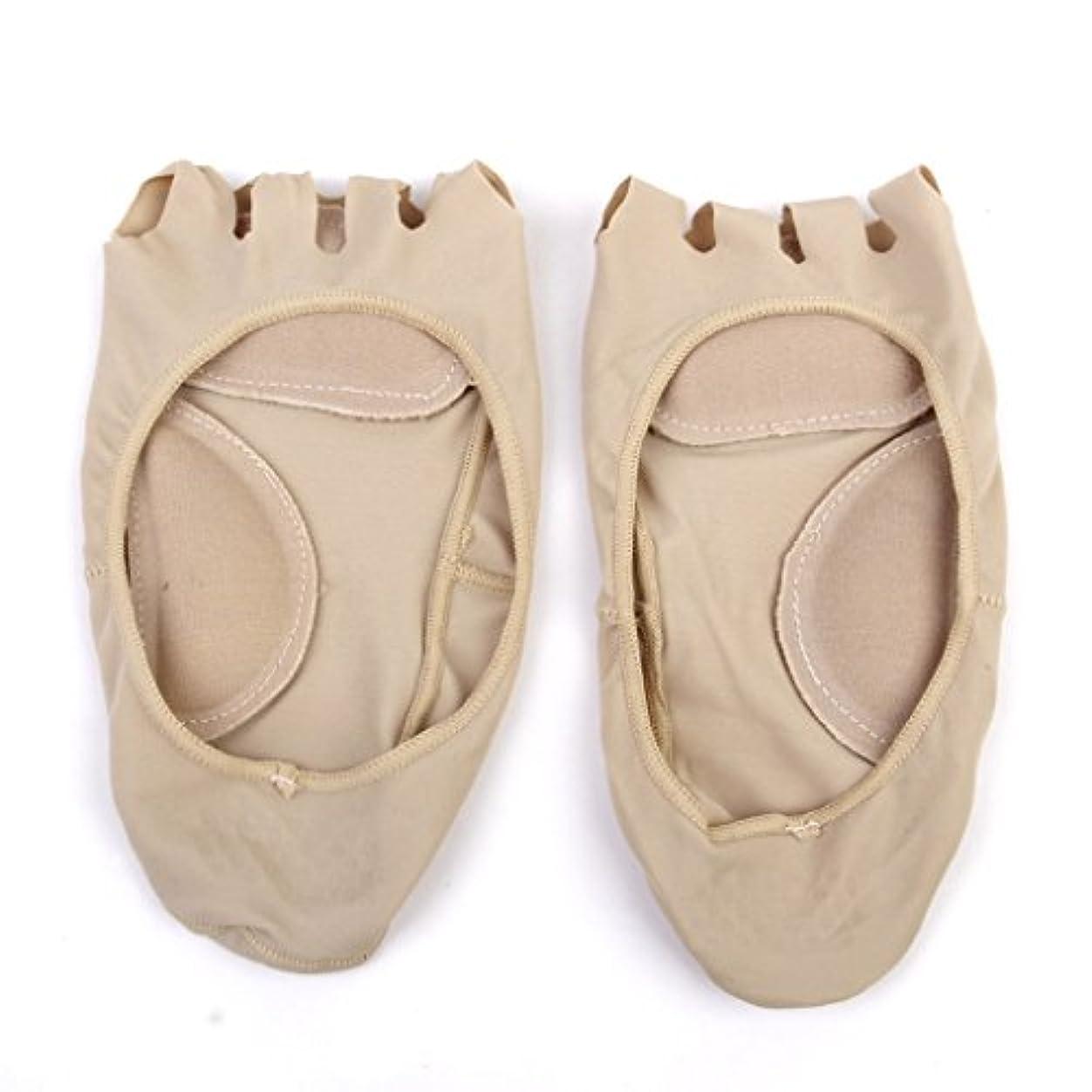 並外れたポジティブけん引【Footful】ソックス 靴下 5つ本指つま先 ボートソックス マッサージパッド 見えない 滑り止め アンクルソックス (ヌード)