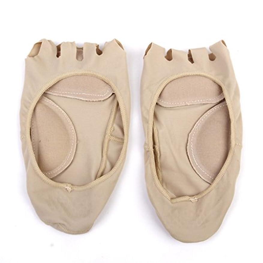 爆発式文房具【Footful】ソックス 靴下 5つ本指つま先 ボートソックス マッサージパッド 見えない 滑り止め アンクルソックス (ヌード)