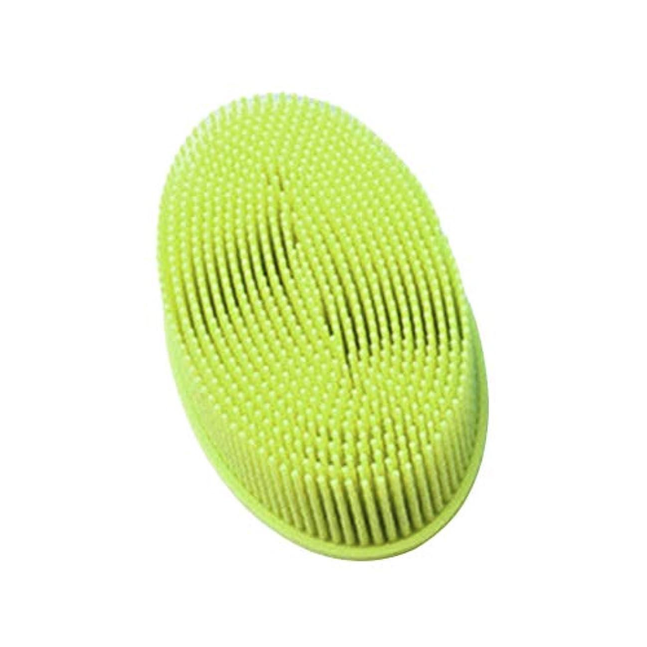 窒素バウンドレキシコンTOPBATHY シリコンシャワーブラシ 頭皮 洗顔 ボディブラシ お風呂 柔らかい 体洗いブラシ 肌にやさしい 多機能 角質除去 疲れ解消(グリーン)