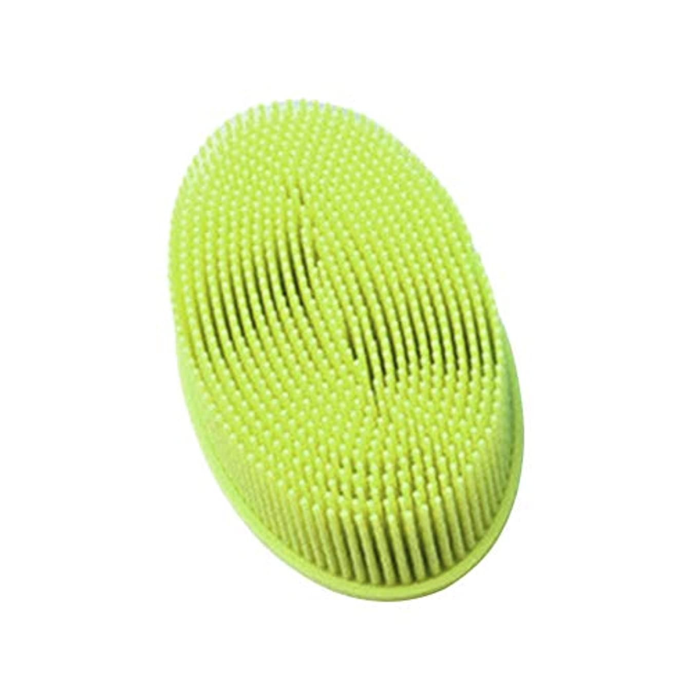 トイレ特異性感情のTOPBATHY シリコンシャワーブラシ 頭皮 洗顔 ボディブラシ お風呂 柔らかい 体洗いブラシ 肌にやさしい 多機能 角質除去 疲れ解消(グリーン)