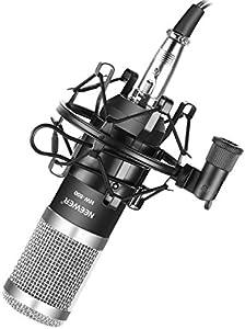 Neewer NW-800プロカーディオイドスタジオコンデンサーマイクセット ショックマウント、ボール型防風フォームキャップ、3.5mm-XLRオーディオケーブル付き 録音、放送、YouTube、ライブペリスコープに適用(ブラック/シルバー)