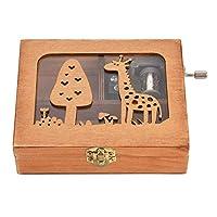 手を振るオルゴール、森動物ウッドボックス刻まれた木製ハンドクランクオルゴール誕生日クラフトギフト玩具美しい装飾(キリン)
