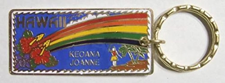 デッドストック?キーチェーン <ハイビスカス、ヤシ、フラガール、虹> 英語とハワイ語表記のネーム入り <1984年> ヴィンテージ